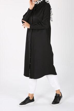 ALLDAY Siyah Gizli Patlı Gömlek Tunik 0
