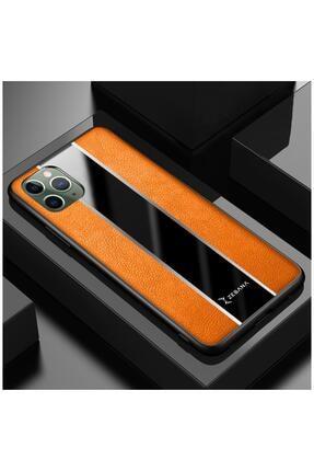 Dara Aksesuar Iphone 11 Pro Max Uyumlu Turuncu Deri Telefon Kılıfı 0