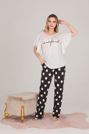 Kadın Beyaz Pijama Takımı PİJAMA TAKIMI-ELİF