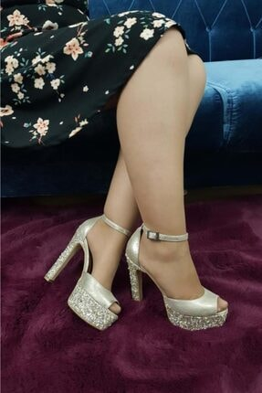 TREND Kadın Topuklu Ayakkabı Taşlı Altın Ox26 1