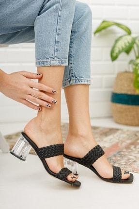 meyra'nın ayakkabıları Kadın Siyah Örgü Bant Ve Şeffaf Topuk Detaylı Topuklu Terlik 1