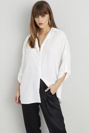Cool & Sexy Kadın Beyaz Salaş Tunik Gömlek Q910 2