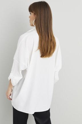 Cool & Sexy Kadın Beyaz Salaş Tunik Gömlek Q910 3