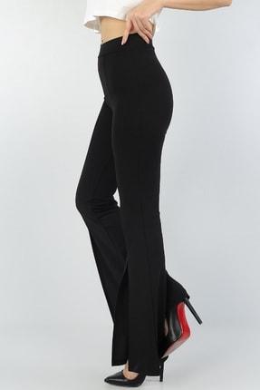 bayansepeti Kadın Siyah Esnek Kumaş Yırtmaç Paça Detaylı İspanyol Paça Pantolon 2