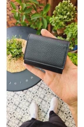Visso leather Visso 660 Siyah Gutty Hakiki Deri Akordiyon Kartlık Bay Bayan Çanta 2