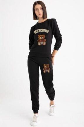 Moschino Kadın Siyah Kabartma Ayıcık Eşofman Takımı 0