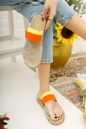 Muggo Kadın Turuncu Şeritli Sandalet 2