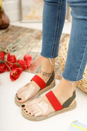 Muggo Kadın Kırmızı Yeşil Şeritli Sandalet 2