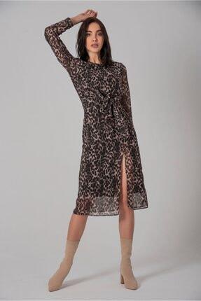 Yırtmaçlı Şifon Elbise yırtmaçlı şifon elbise
