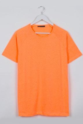 Sekizbiraltı Neon Turuncu Reglan Kol Basic Unisex Tshirt 0