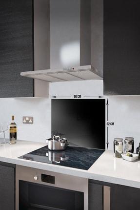 Abant Glass Düz Renk - Siyah   Cam Ocak Arkası Koruyucu   52cm X 60cm 1