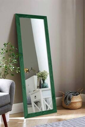 bluecape Doğal Ağaç Yeşil Paris Dekor Raflı El Yapımı Salon Ofis Mutfak Duvar Konsol Boy Ayna 120x40 Cm 1