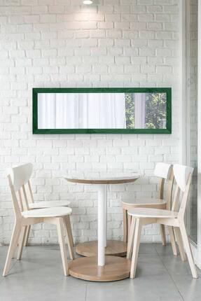bluecape Doğal Ağaç Yeşil Paris Dekor Raflı El Yapımı Salon Ofis Mutfak Duvar Konsol Boy Ayna 120x40 Cm 2