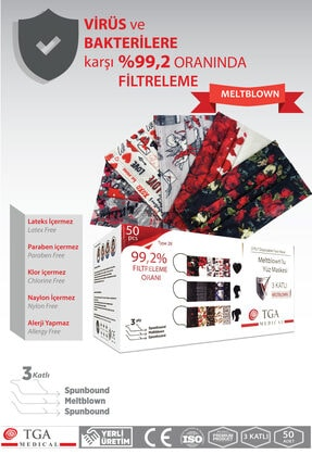 TGA MEDİCAL Meltblown Filtreli 3 Katlı Maske Sevgililer Günü Konsepti 50 Adet 1