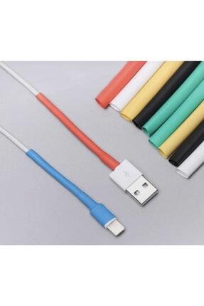 Çetin Iphone Uyumlu Şarj Kablosu Koruyucu Makaron 12 Adet 6 Cm 6 Farklı Renk 0