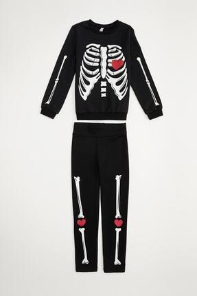 Defacto Kız Çocuk Iskelet Baskılı Sweatshirt Ve Tayt Takım 4