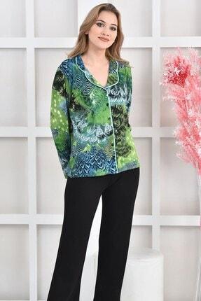 OENDO Yeşil Siyah Baskılı Viskon Örme Pijama Takımı Nd-2005 2