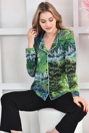 OENDO Yeşil Siyah Baskılı Viskon Örme Pijama Takımı Nd-2005 4