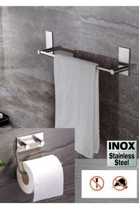 DELTAHOME Paslanmaz Çelik 40cm Havluluk Ve Tuvalet Kağıtlığı Set - Inox 0