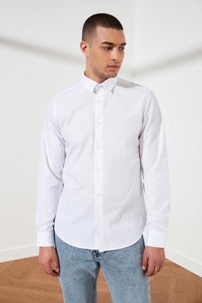TRENDYOL MAN Beyaz Erkek Slim Fit Basic Gömlek Yaka Gömlek TMNSS21GO0476 1