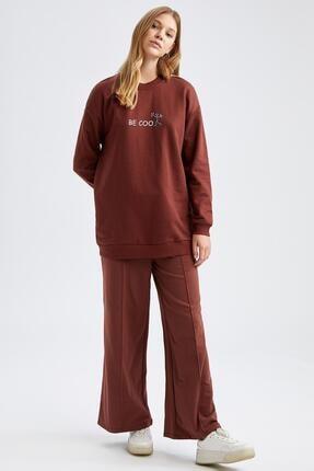 Defacto Modest Yazı Baskılı Relax Fit Sweatshirt 1