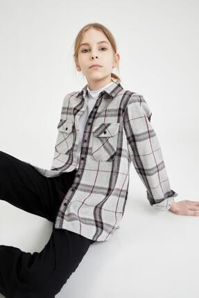Defacto Kız Çocuk Oversize Oduncu Gömlek 3