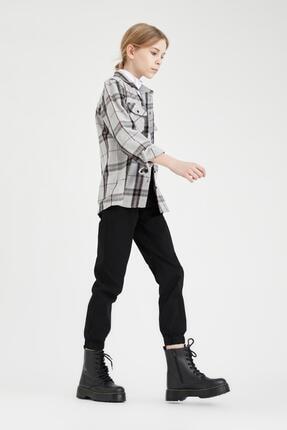 Defacto Kız Çocuk Oversize Oduncu Gömlek 4