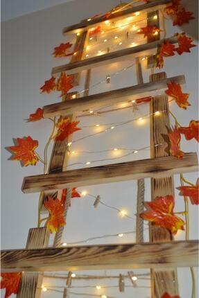 HayalAvm Doğal Ahşap Işıklı Dekoratif Sonbahar Konseptli 3 Çerçeveli Halatlı 5 M Günışığı Led 10 Mandallı 1