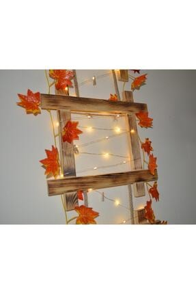 HayalAvm Doğal Ahşap Işıklı Dekoratif Sonbahar Konseptli 3 Çerçeveli Halatlı 5 M Günışığı Led 10 Mandallı 2