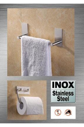 DELTAHOME Paslanmaz Çelik 30cm Havluluk Ve Tuvalet Kağıtlığı Set - Inox 0