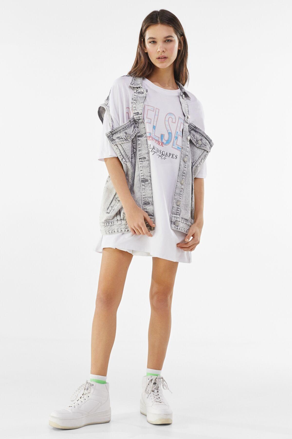 Bershka Kadın Beyaz Desenli Oversize T-Shirt 01971987 3