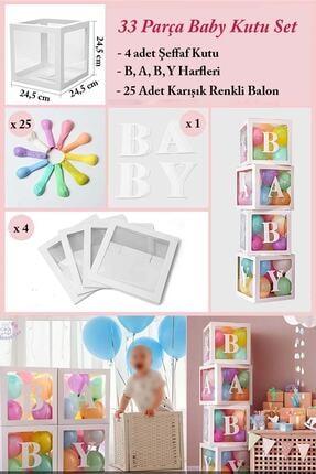 Patladı Gitti 33 Parça Baby Yazılı Şeffaf Beyaz Kutu Balon Seti, Baby Balon Kutusu Bebek Çocuk Doğum Günü Kutlama 2