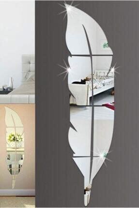Dekoratif Duvar Dekorasyon Tüy Desen Gümüş Ayna Pleksi Şık Estetik Havalı (hediyelik) tüy desen