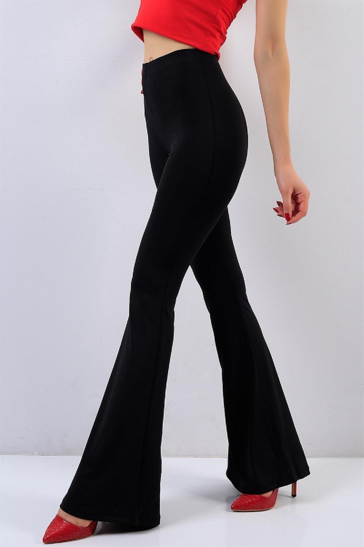 Kadın Siyah Esnek Krep Kumaş İspanyol Paça Yüksek Bel Pantolon
