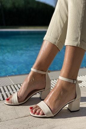 İnan Ayakkabı Kadın Bej Tek Bant Bilekli Topuklu Ayakkabı 1