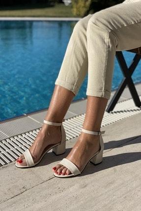 İnan Ayakkabı Kadın Bej Tek Bant Bilekli Topuklu Ayakkabı 2