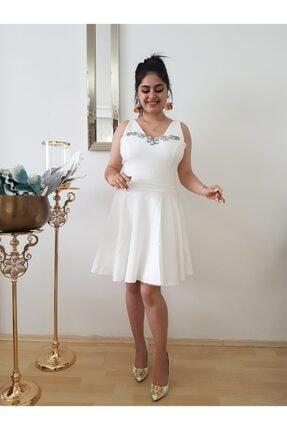 Kadın Beyaz Midi Kloş Elbise Elbise MRT00000142