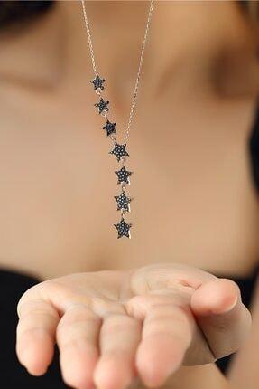 Herisson Kadın 925 Ayar Gümüş Zirkon Siyah Taşlı Kayan Yıldız Takım Kolye 2