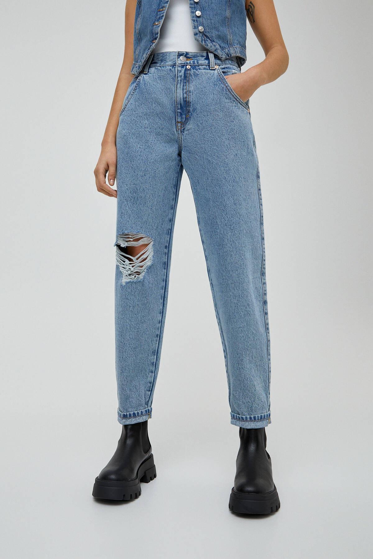Pull & Bear Kadın Açık Mavi Basic Yüksek Bel Slouchy Jean 04681320 2