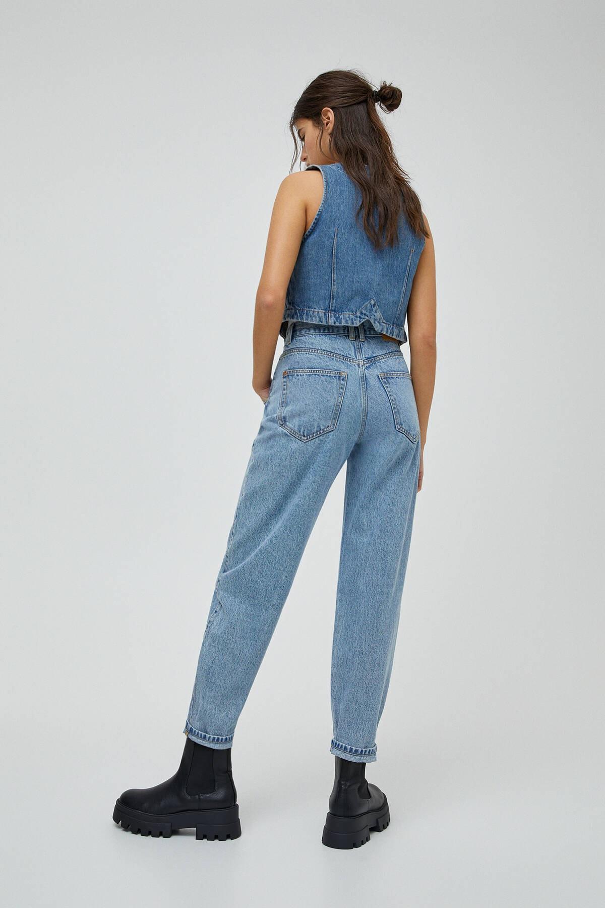 Pull & Bear Kadın Açık Mavi Basic Yüksek Bel Slouchy Jean 04681320 3
