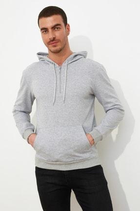 Gri Erkek Kapüşonlu Regular Fit  Sweatshirt TMNSS21SW0219 resmi
