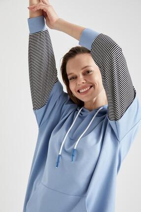 Defacto Kadın Mavi Renk Bloklu Kapüşonlu Kanguru Cepli Sweat Tunik 0