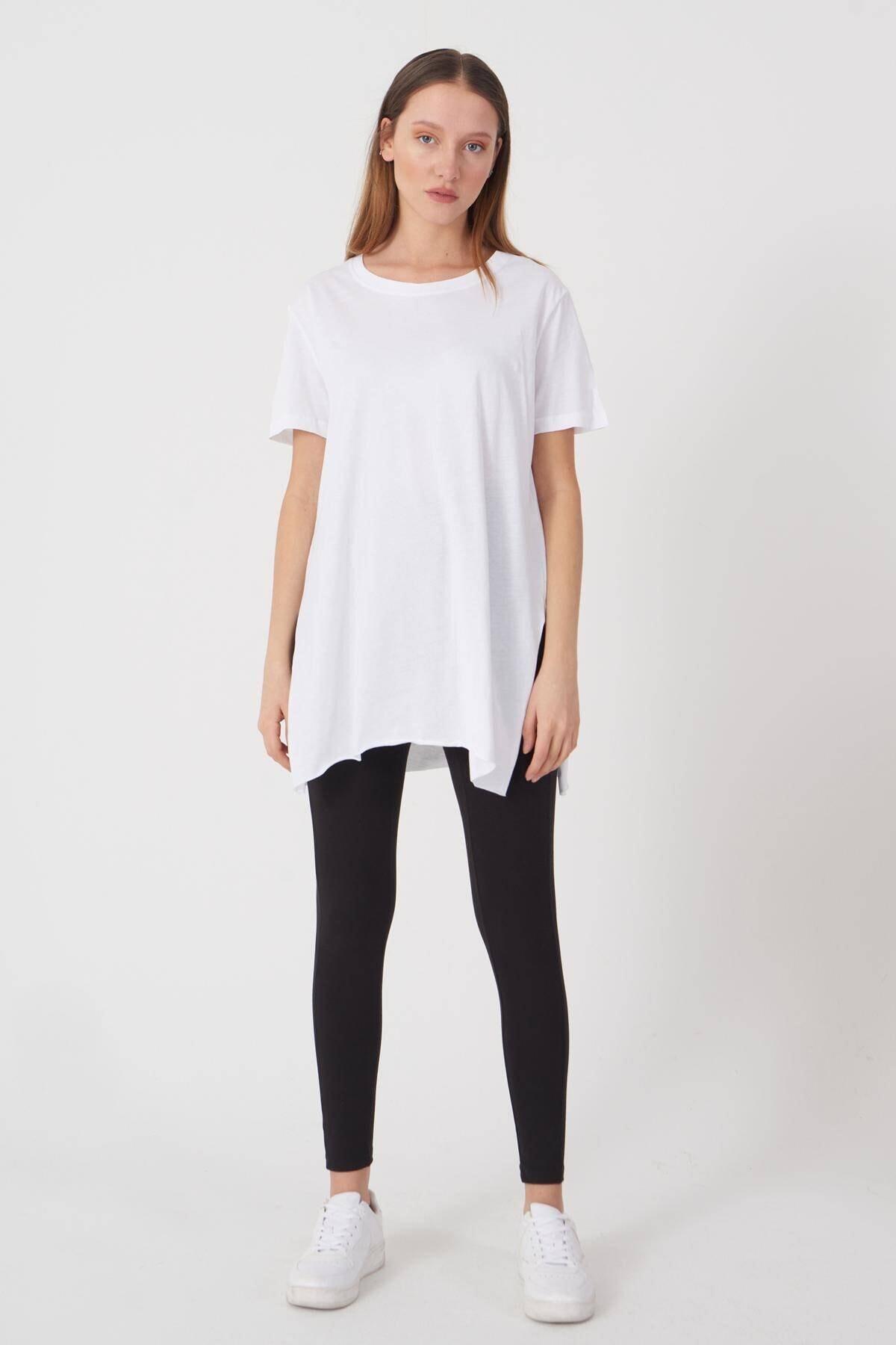 Addax Kadın Beyaz Bisiklet Yaka T-Shirt P0101 - U4 - Z1 Adx-00007204 3