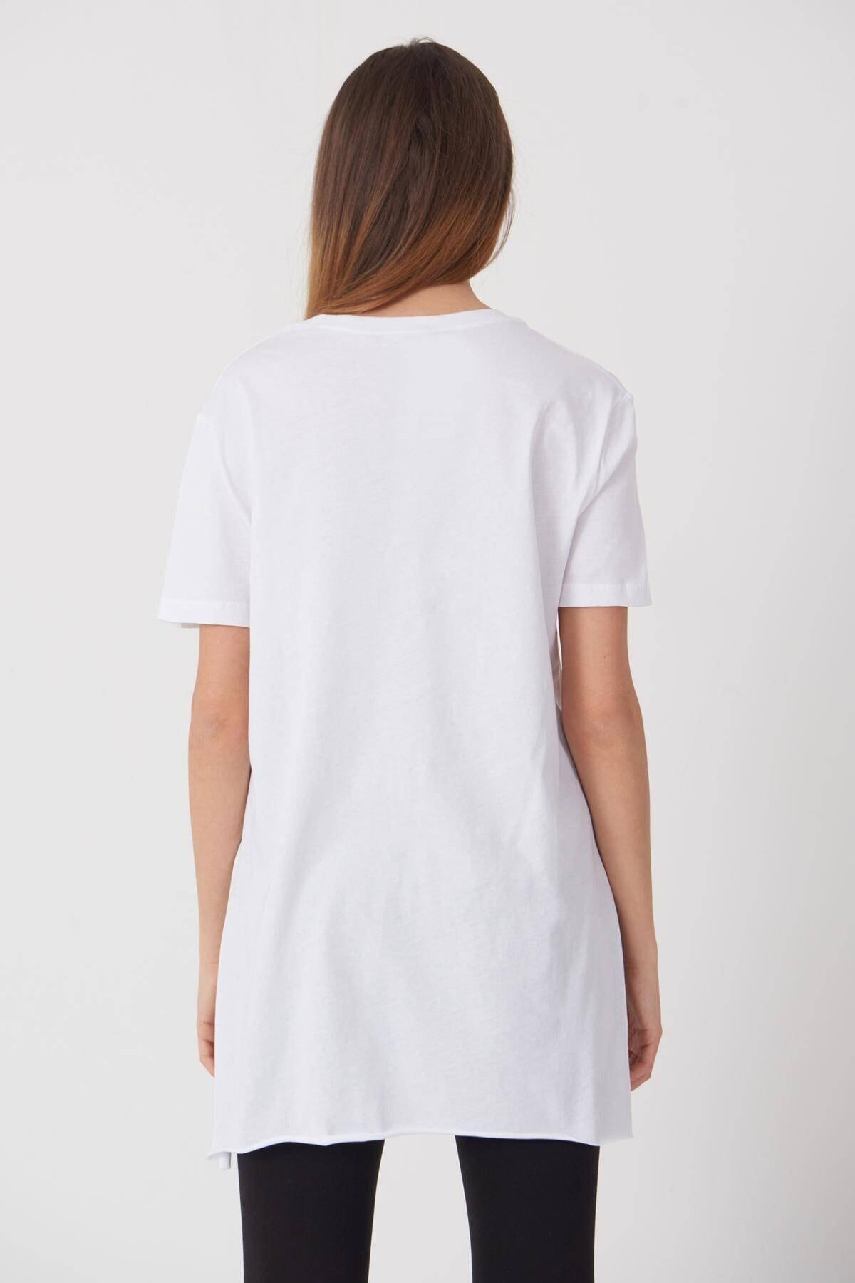 Addax Kadın Beyaz Bisiklet Yaka T-Shirt P0101 - U4 - Z1 Adx-00007204 4