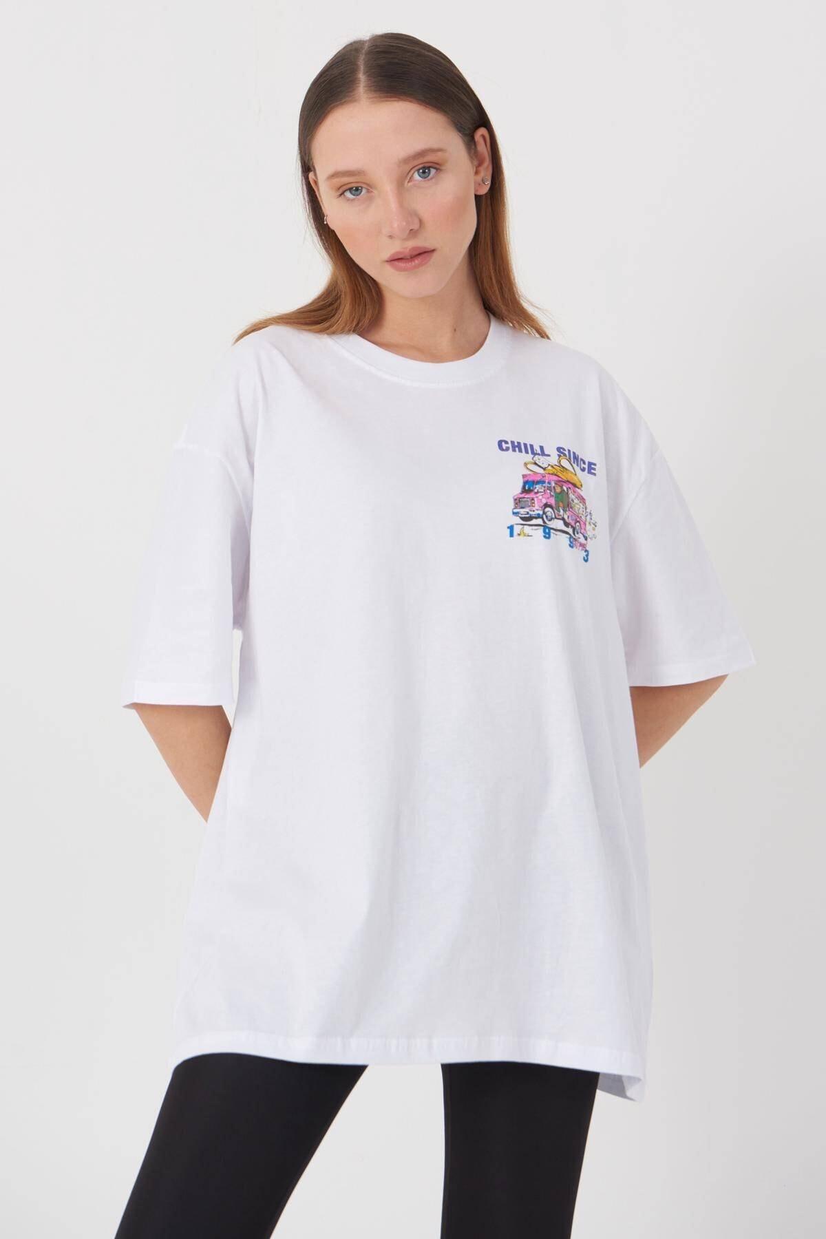 Addax Kadın Beyaz Baskılı T-Shirt P9353 - B12 Adx-0000021102 1