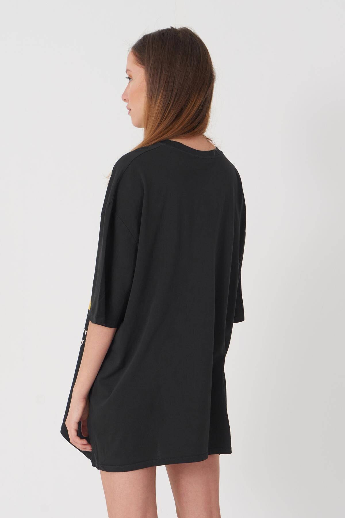 Addax Kadın Füme Baskılı T-Shirt P9365 - D10 Adx-0000021401 4