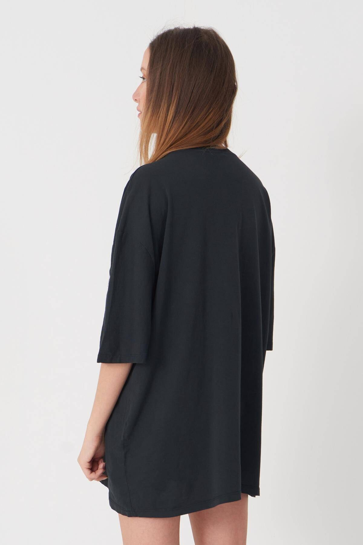 Addax Kadın Füme Baskılı T-Shirt P9371 - C5 Adx-0000021438 4
