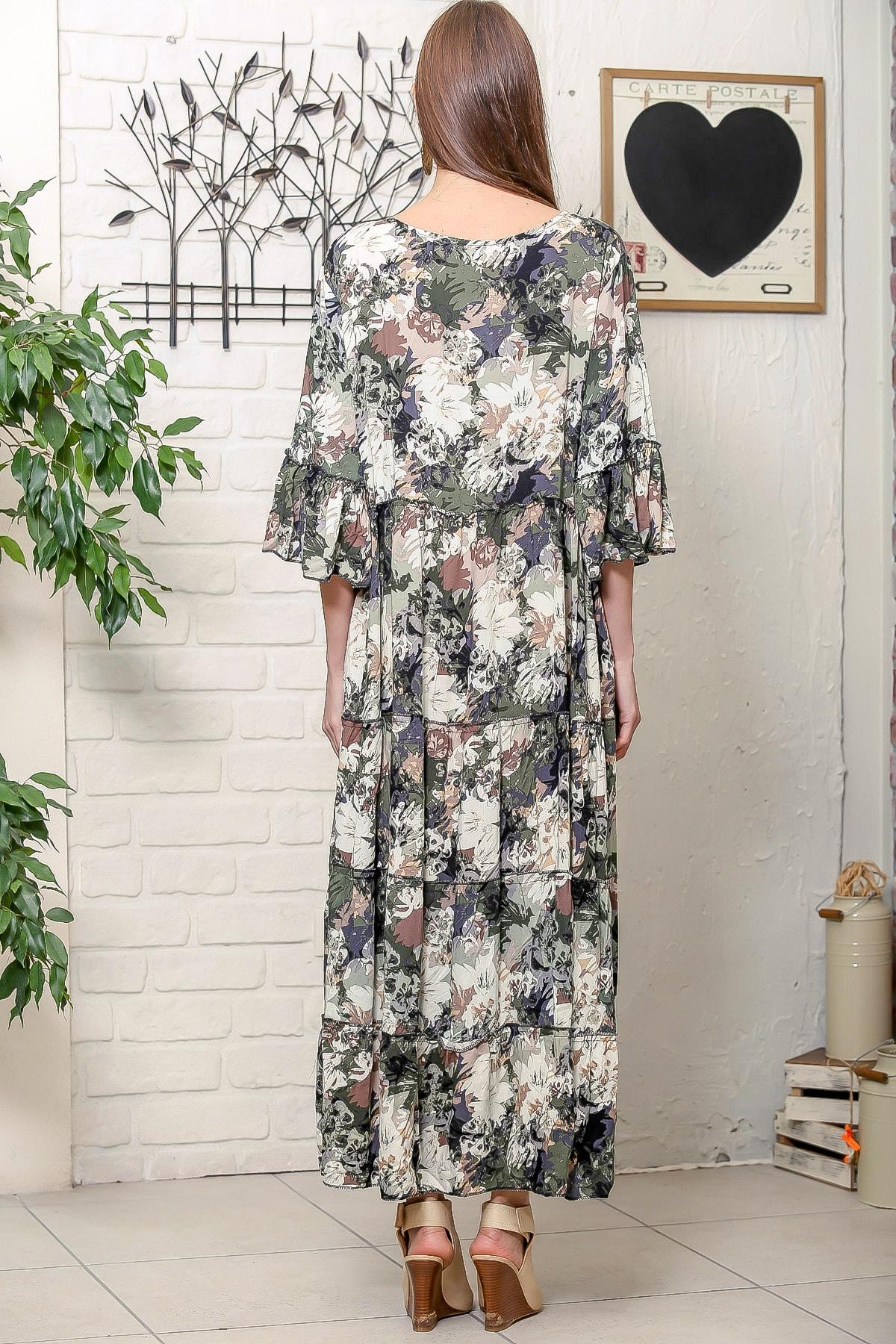 Chiccy Kadın Yeşil Romantik Çiçek Desenli Püskül Bağcıklı Kat Kat Salaş Uzun Elbise 4