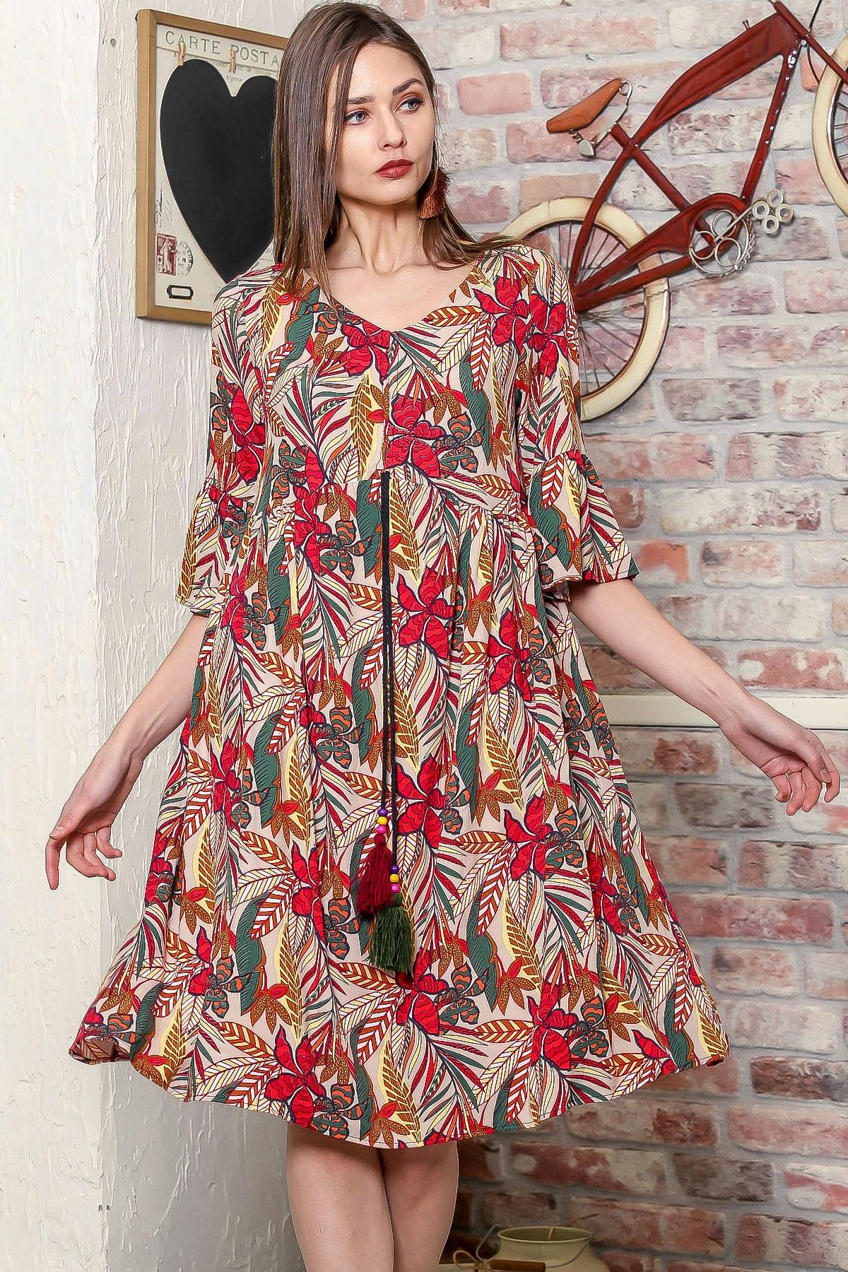 Kadın Bej Yaprak Desen Kolları Volanlı Robadan Büzgülü Püsküllü Bağcıklı Salaş Dokuma Elbise