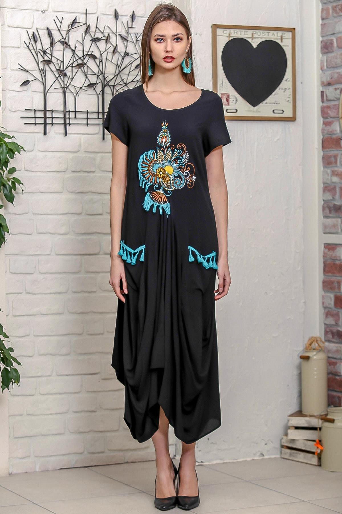 Chiccy Kadın Siyah Ottoman Yelpaze Nakışlı Cepleri Püsküllü Asimetrik Salaş Elbise 2